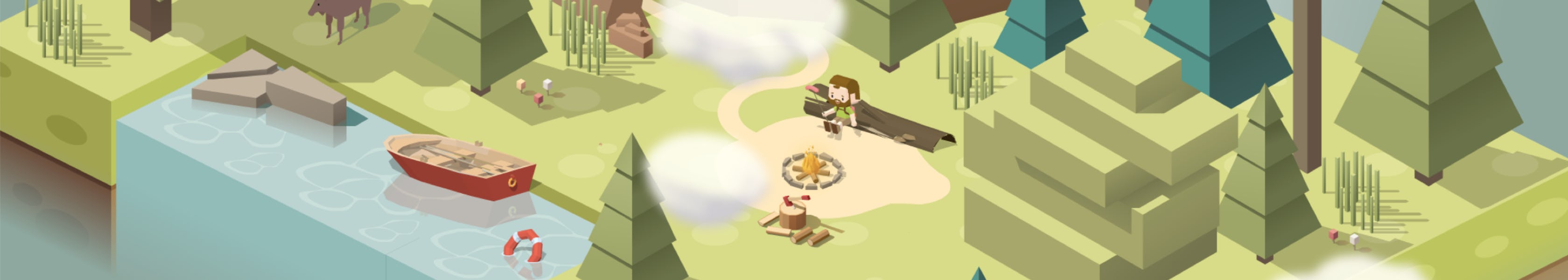 Cave exploration's game scenario with mountains, clouds, lake and trees. The protagonist is watching the fire pit at the center of scenario.