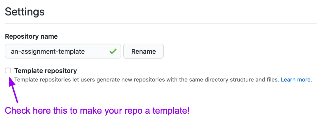 screenshot of settings interface - how to create a repository template