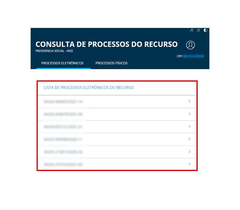 Lista dos processos de recursos