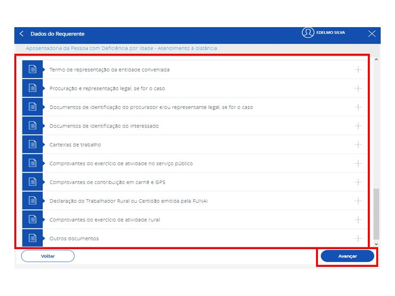 Tela do Meu INSS mostrando as opções para upload dos documentos.