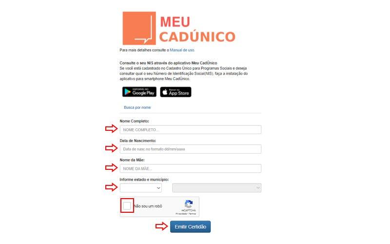 Acesso o site https://meucadunico.cidadania.gov.br/meu_cadunico/: