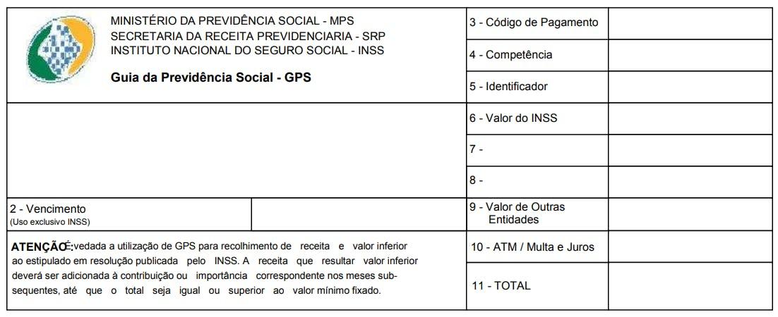 Exemplo de Guia da Previdência Social