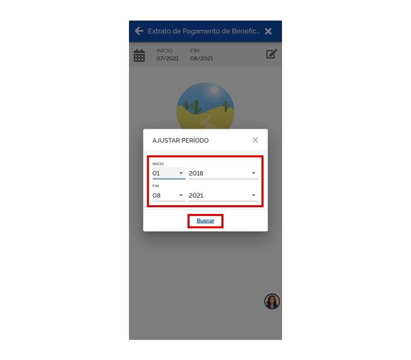 Meu INSS exibindo as opções para mudar a data do extrato de pagamento.