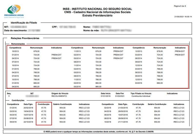 Histórico de remunerações no extrato CNIS