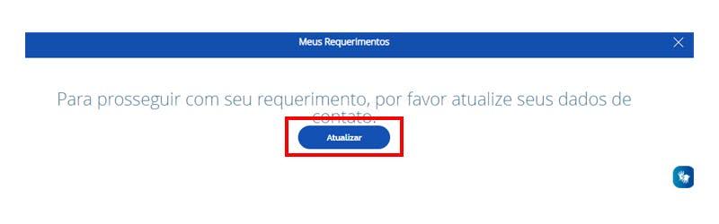 """Tela do Meu INSS indicando a localização do botão """"Atualizar""""."""
