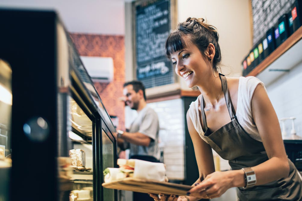 Small business cafe worker