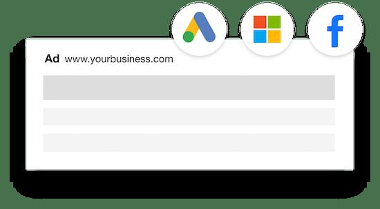 Microsoft, Facebook and Google ads