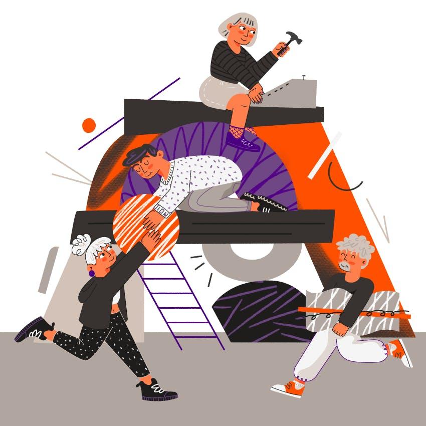 es una ilustracion que muestra a 4 personas colaborando para construir algo juntos.