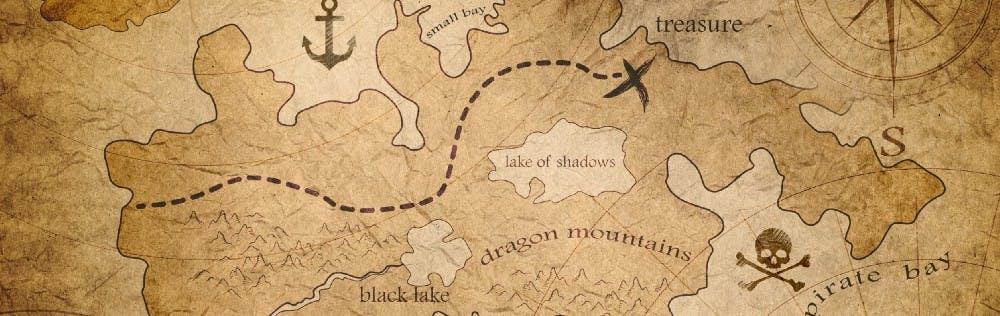 Ilustracion de un mapa que muestra un recorrido marcado con linea punteada