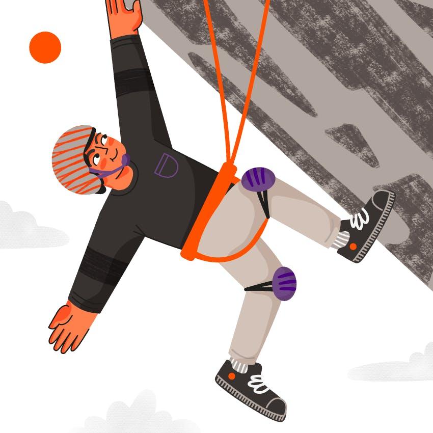 es una ilustracion de un chico escalando