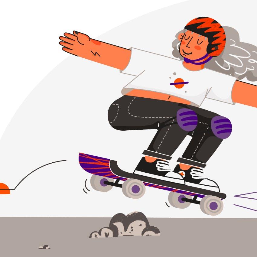 es una ilustracion de una chica andando en skate