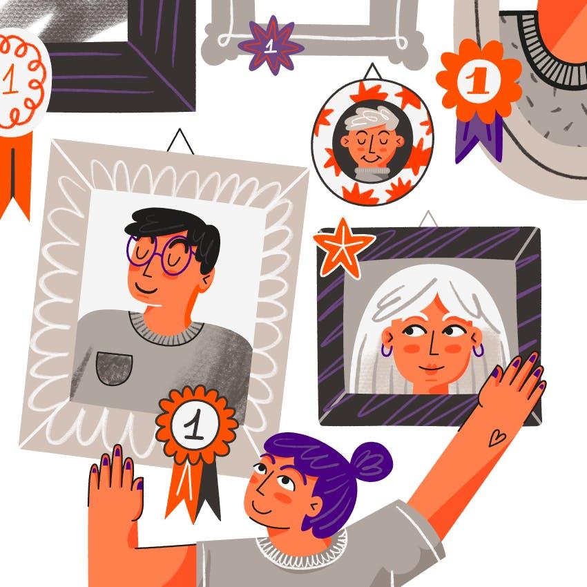 Es una ilustracion. se ve a una chica poniendo unos cuadritos en la pared que tienen dentro retratos de personas.