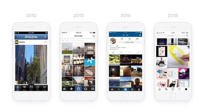 Comparacion de distintas pantallas de la app de Instagram a traves de los años