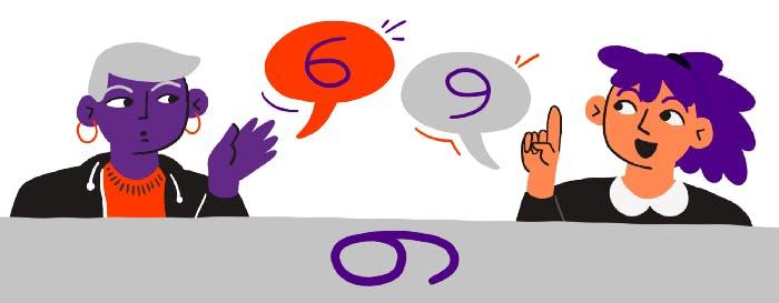 Ilustracion: Dos personas conversando sobre el numero que ven, una ve el numero 9 y otra el numero 6.