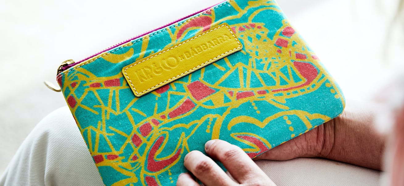 A Kip&Co purse made in collaboration with Babbarra