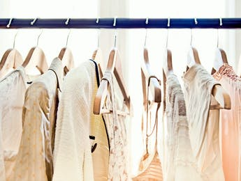 Rows of rented dresses