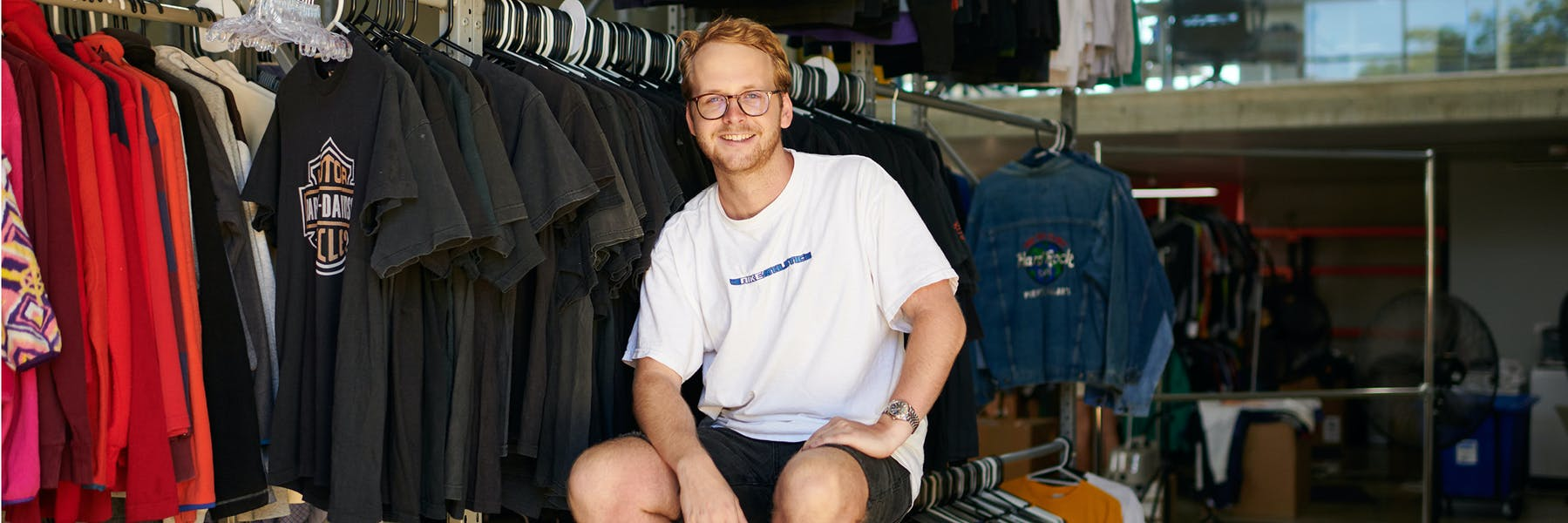 Restated Vintage founder Ben Randall at the store's warehouse