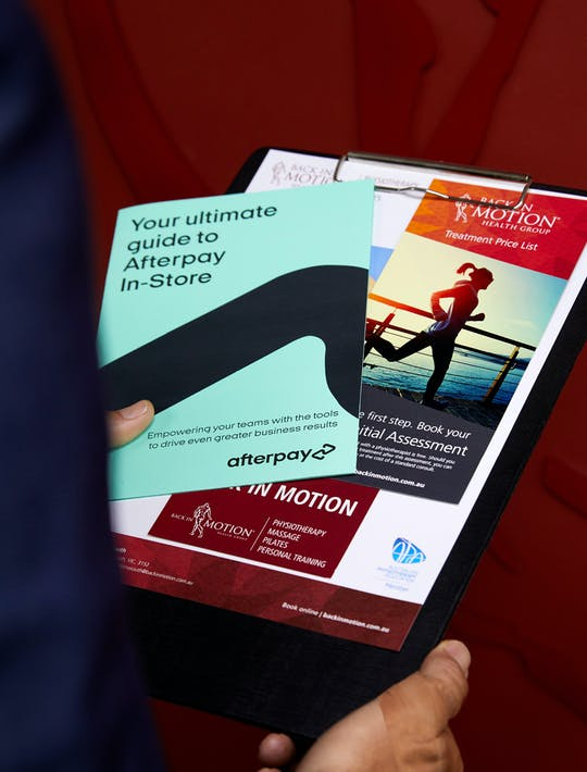 Afterpay sales materials at Back In Motion physio