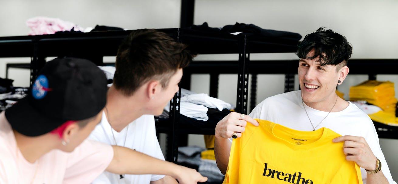 The co-founders of Brisbane clothing brand Selfawear
