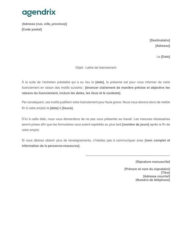 Modèle de lettre de licenciement pour faute grave à télécharger
