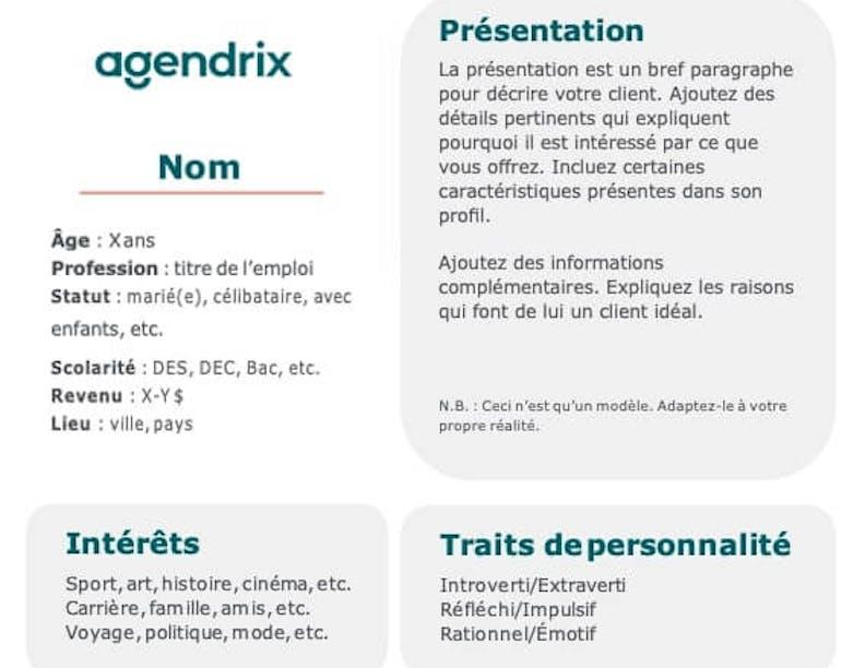 Modèle et exemples de profils clients gratuits