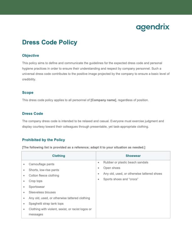 Dress Code Policy at Work Sample
