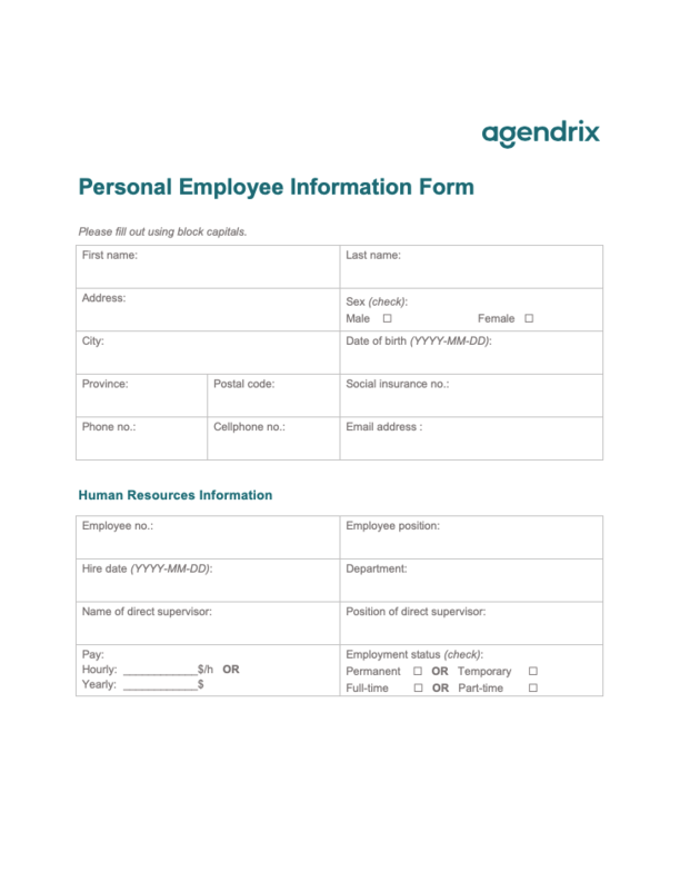 Personal Employee Information Form