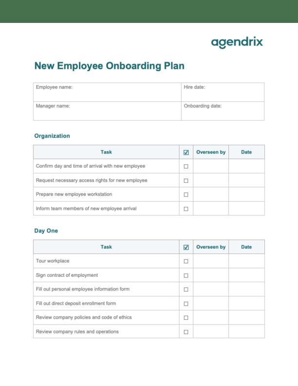 New Employee Onboarding Plan Template