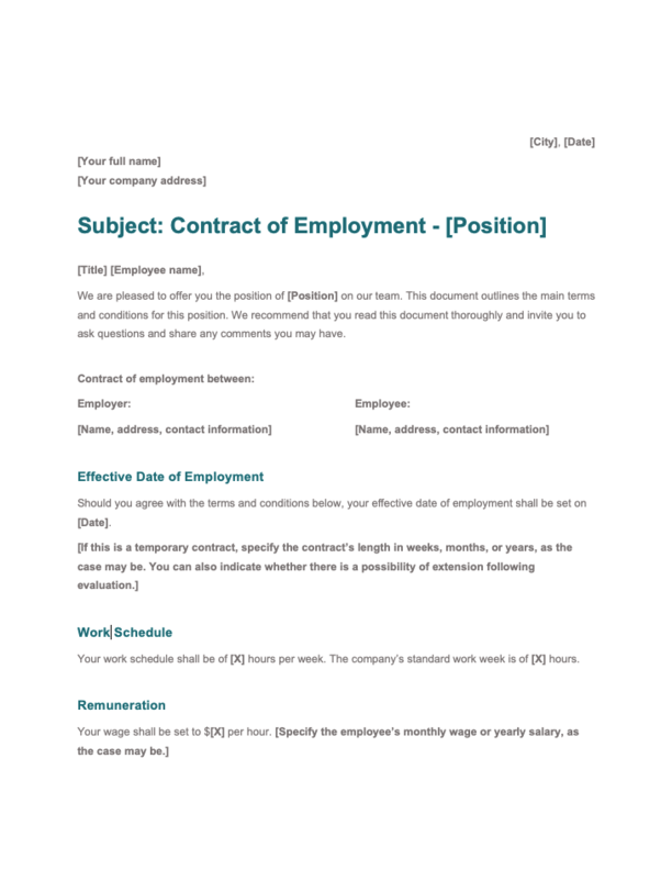 Word Employment Contract of Service Template