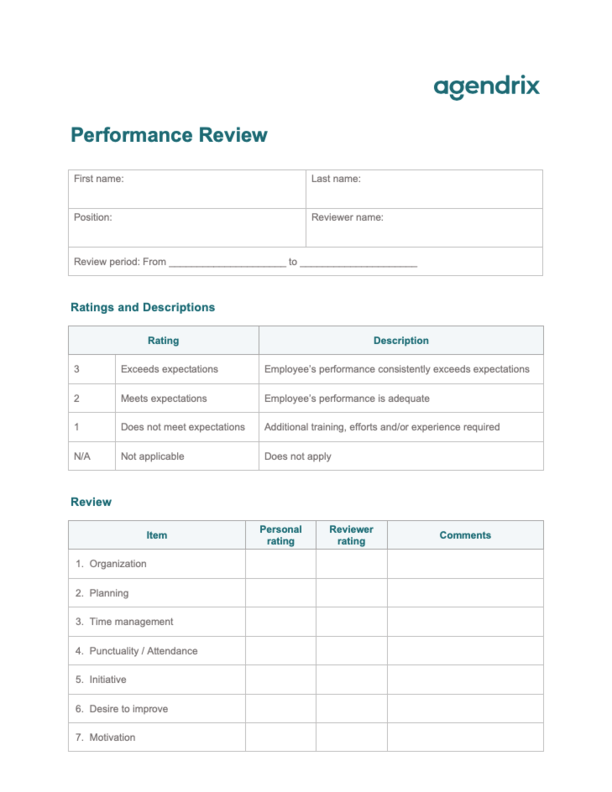 Word Performance Review Template