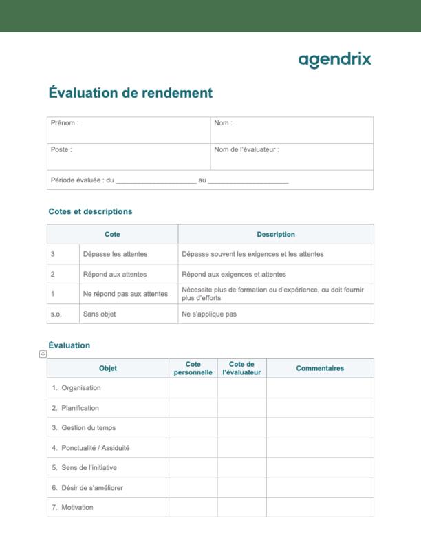 Guide d'évaluation du rendement