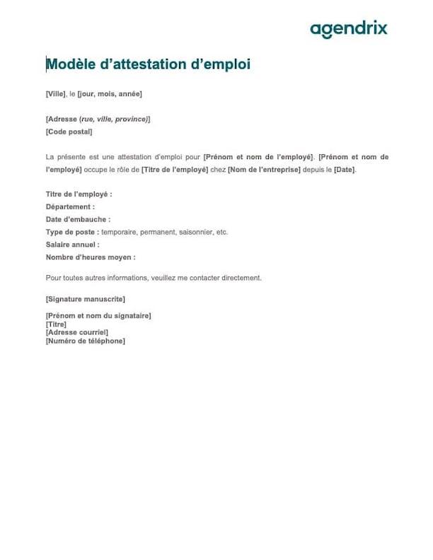 Modèle Word de lettre d'attestation d'emploi