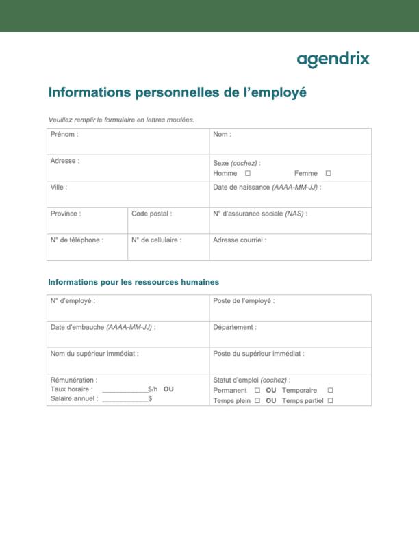 Formulaire d'informations personnelles de l'employé