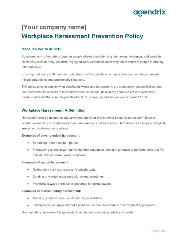 Workplace Harassment Policy Sample