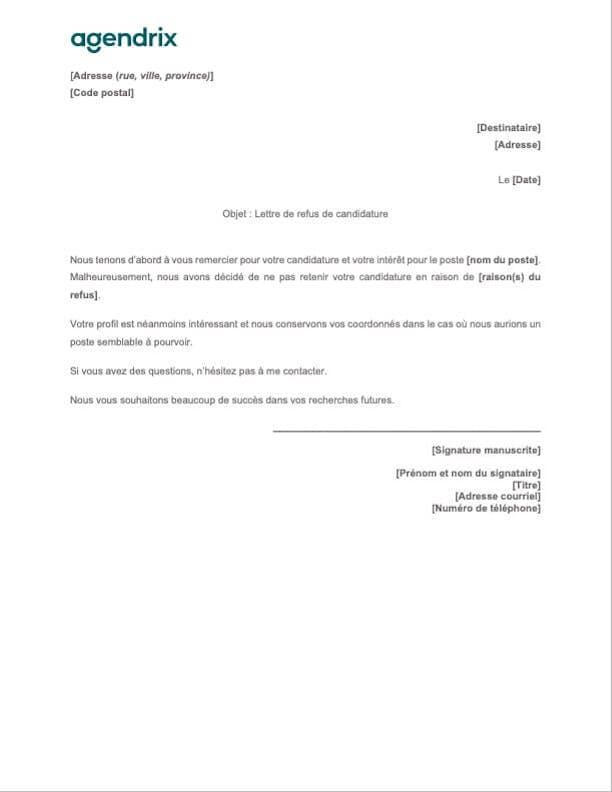 Modèle de lettre de refus de candidature