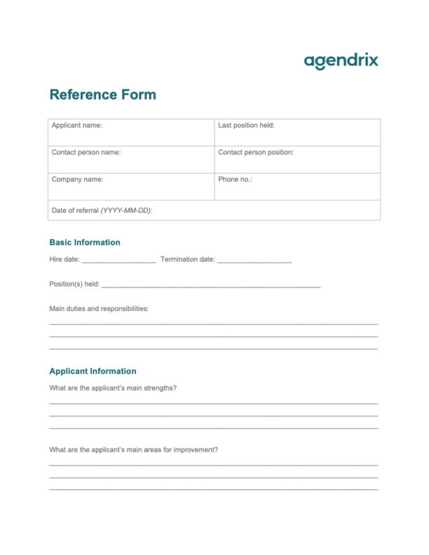 Employee Reference Form Template