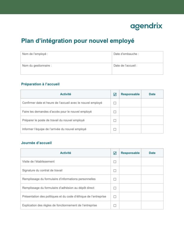Plan d'intégration pour nouvel employé