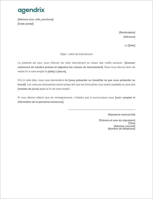 Modèle de lettre de licenciement