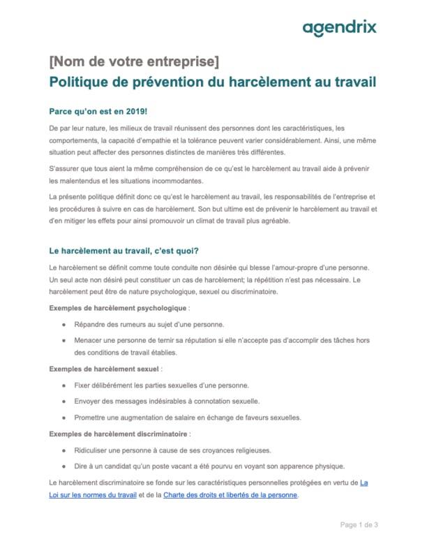 Modèle de politique de prévention du harcèlement au travail