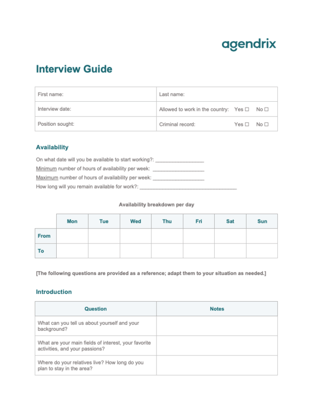 Word Interview Guide Template