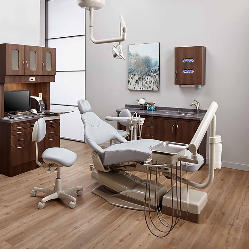 A modern dentist office with dental equipment and technology designed by Midmark