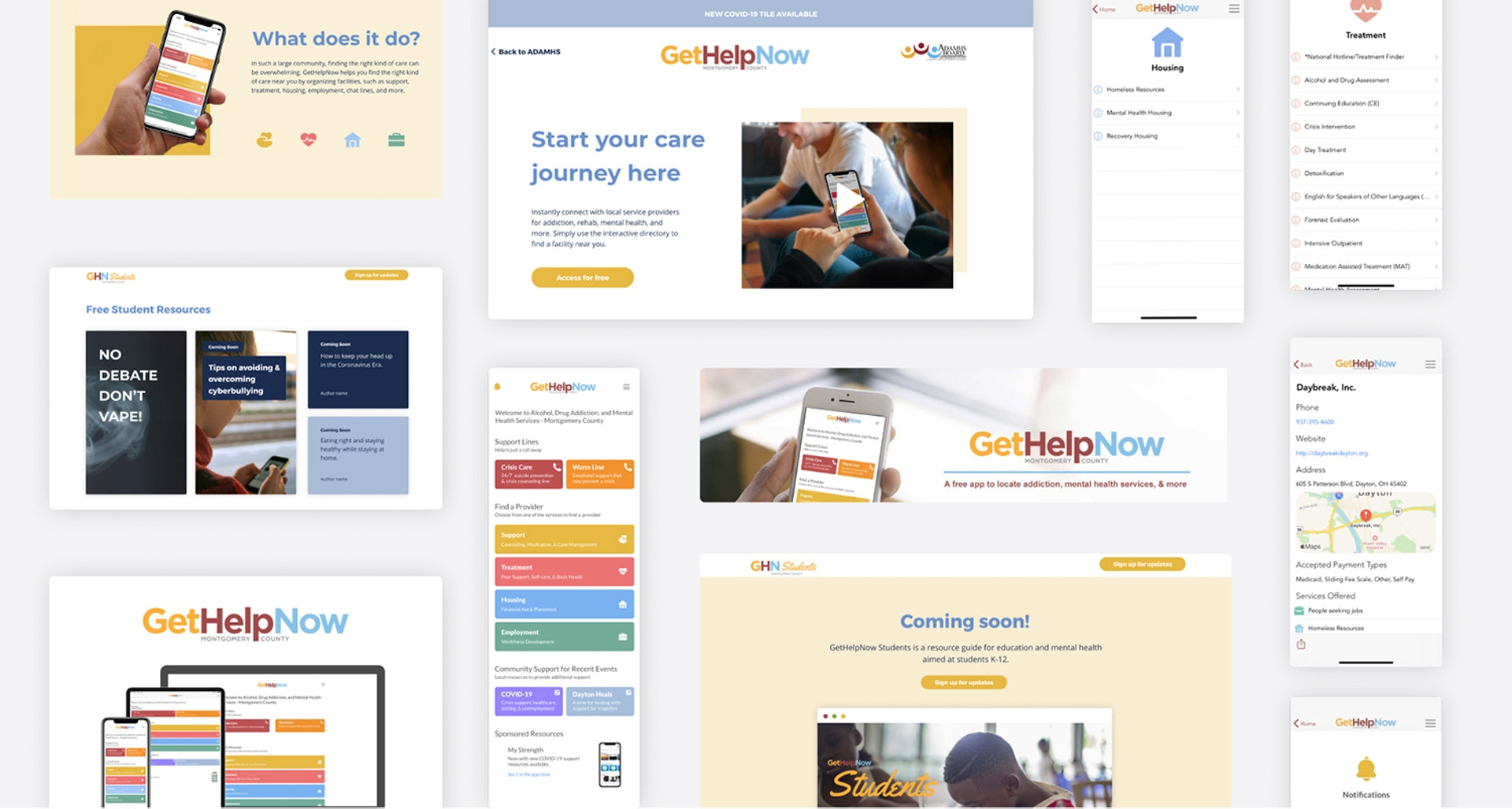 A collage of GetHelpNow design work created by Ascend Innovations