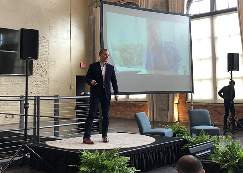 Josh Gratsch, Ascend Innovations Vice President of Operations and Data, giving a presentation