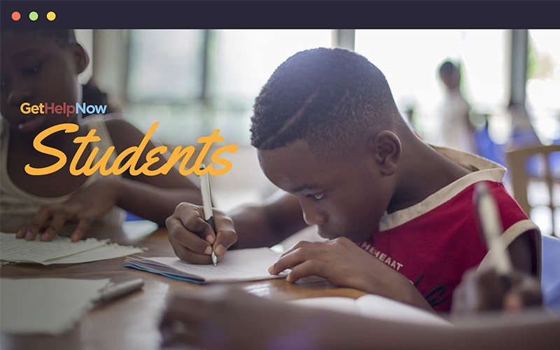 GetHelpNow Students splash page with a young boy working on homework