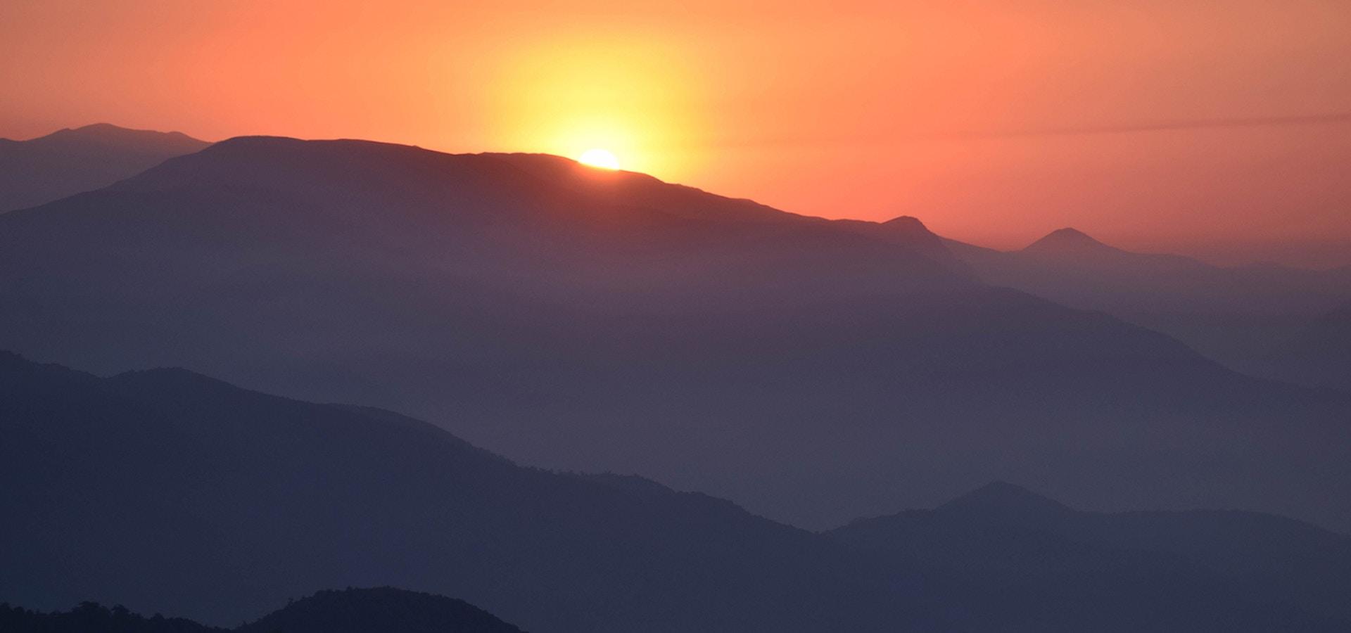 Sunrise over a mountain range