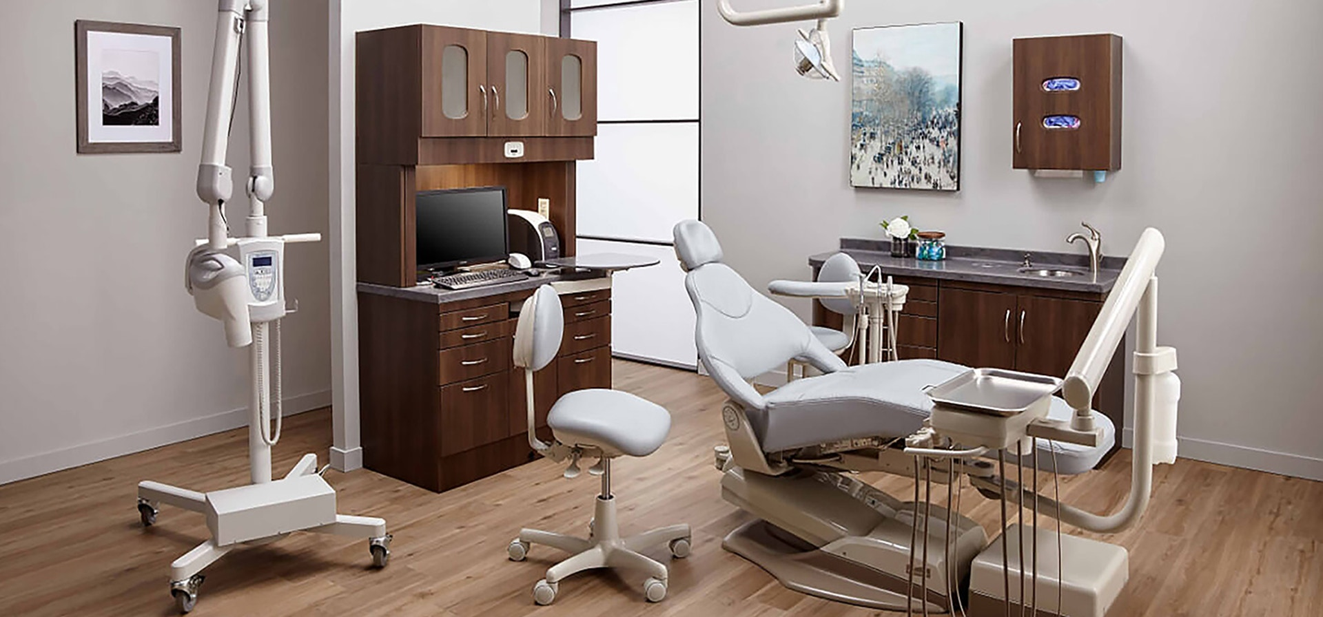 A modern dentist office featuring dental equipment and technology designed by Midmark