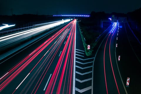 road with neon lines