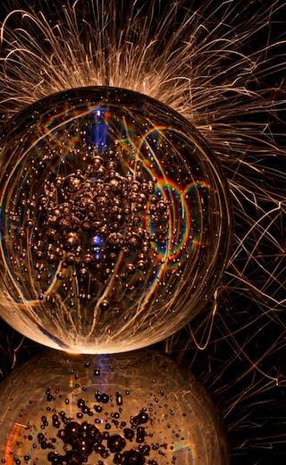 glass ball with neon lights