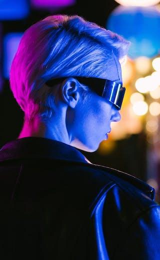 futuristic woman wearing glasses