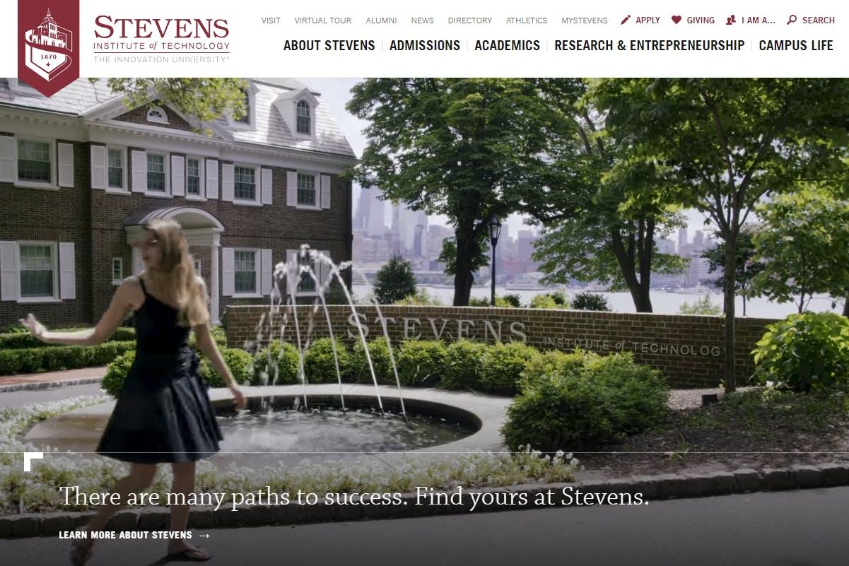 Stevens Institute of Technology website screenshot